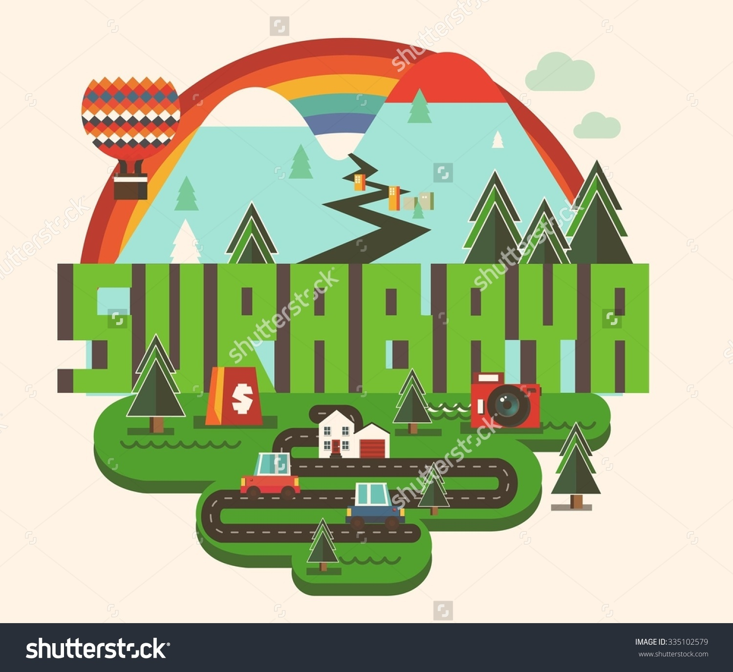 Surabaya Beautiful City World Vector Illustration Stock Vector.