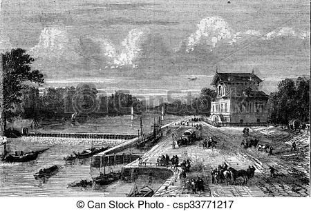 Clipart of Dam on the Seine at Suresnes, vintage engraving..