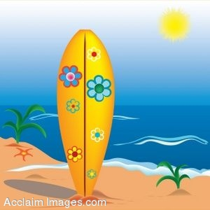 Clip Art of a Surfboard Stuck in the Sand of a Beach.