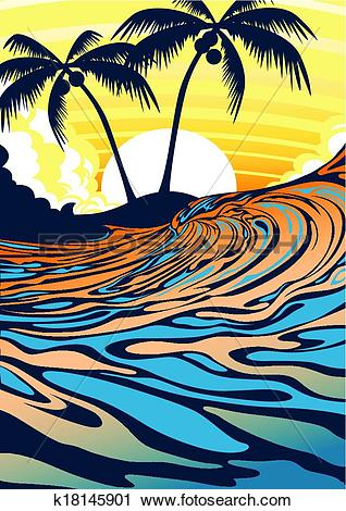 Clipart of Surf beach at sunrise k18145901.