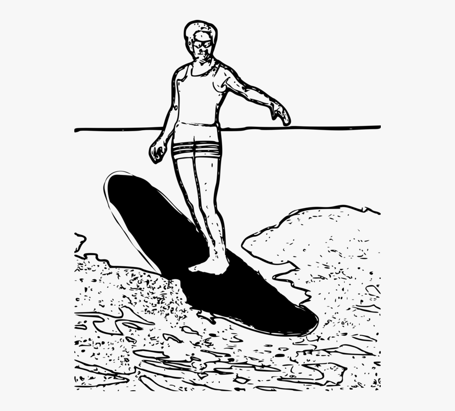 Surfing Clipart Black And White , Transparent Cartoon, Free.