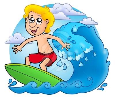 Kids on surfboard clipart.