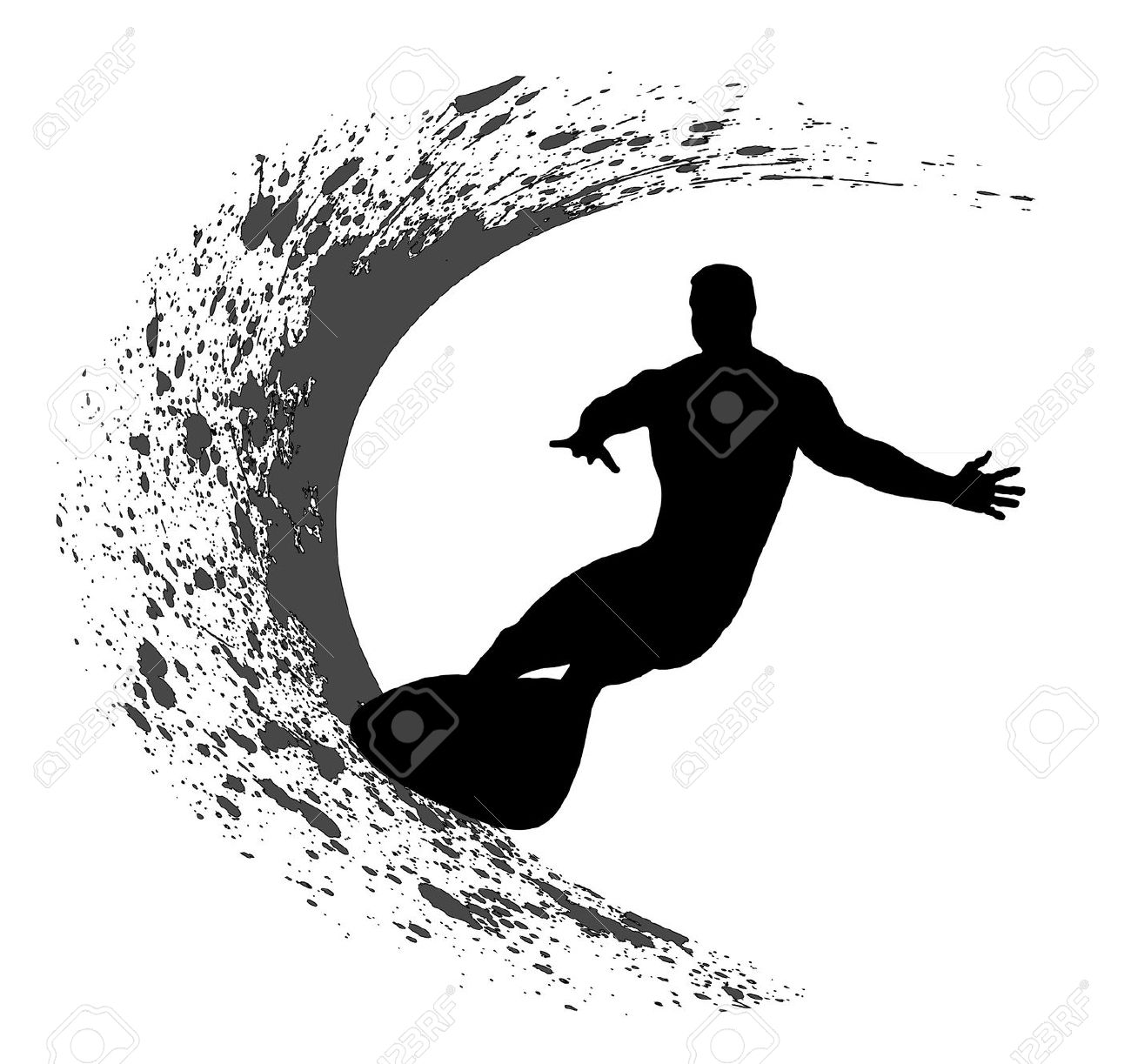 Surfer Silhouette Free Clipart.