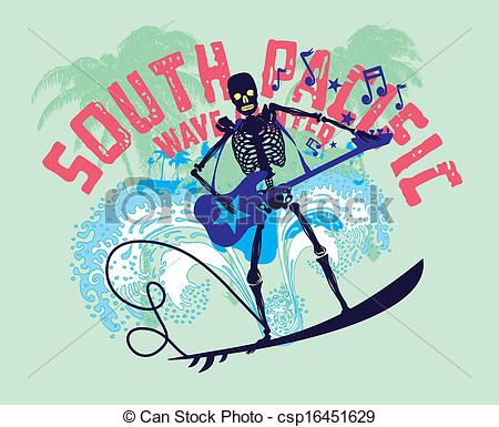 Vector Illustration of south pacific rock music skeleton surfer.