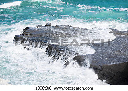 Pictures of Auckland, surf washing over rocks at Muriwai Beach.