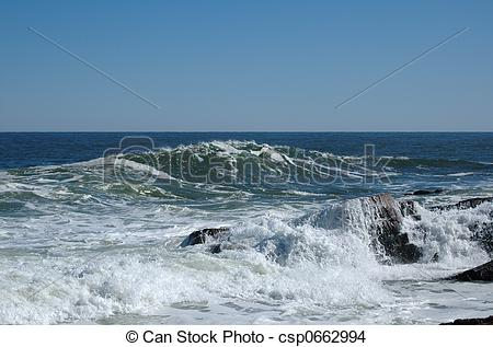 Stock Photo of Surf at Bass Rocks, Gloucester, MA, after a storm.