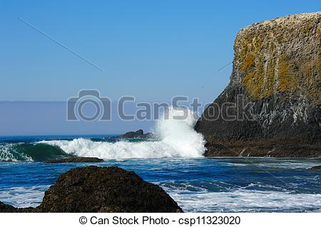 Stock Photo of Yaquina Head Surf on the Rocks.