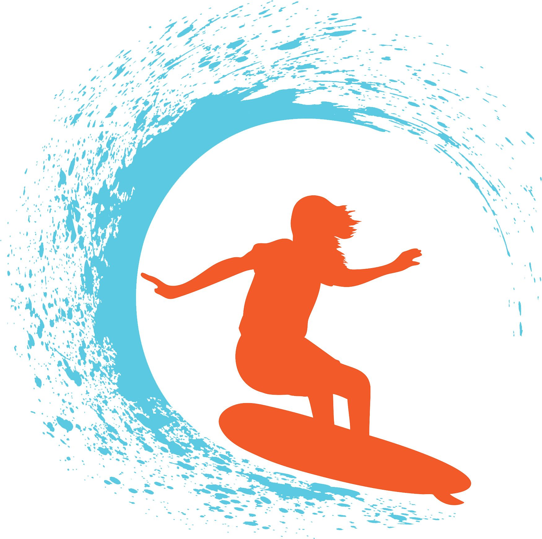 Create surfer designs using the clip art from the Decorating.
