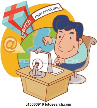 Man on the internet clipart.