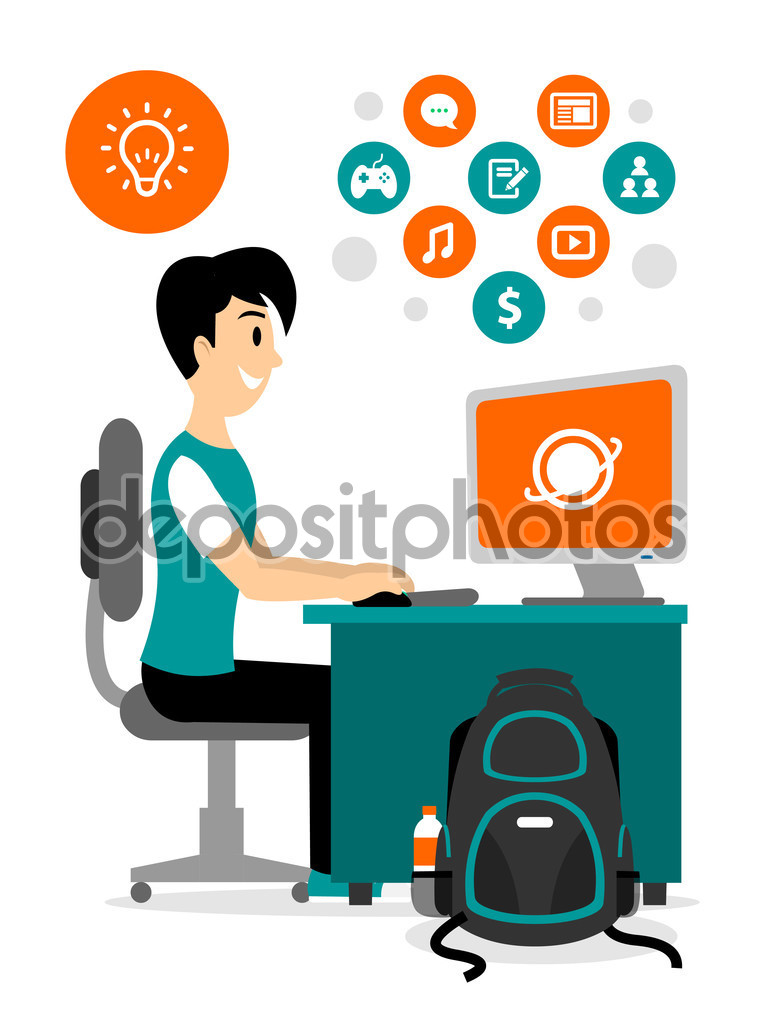Teenage Boy Browsing Internet to Access Any Contents Clipart.