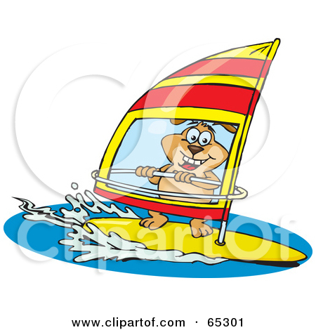 Cartoon of a Man Wind Surfing.