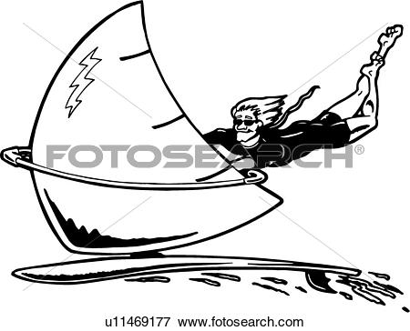 Clip Art of , action, sport, surf, surfer, surfing, water, wind.