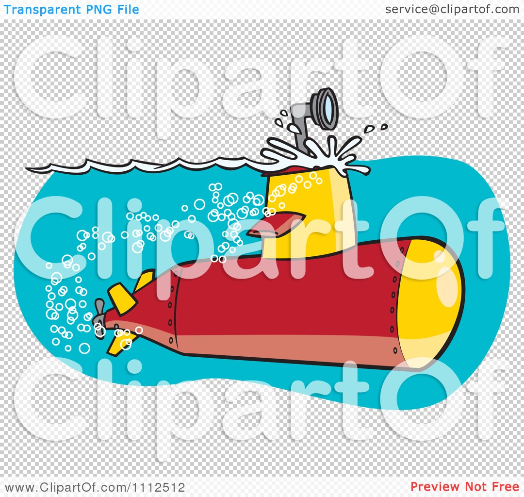 Clipart Submarine With The Scope Above The Surface.