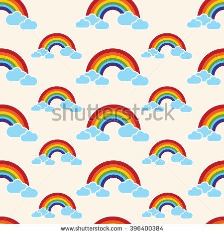 Rainbow Clouds Cartoon Vector Clipart Cute Stock Vector 429088741.
