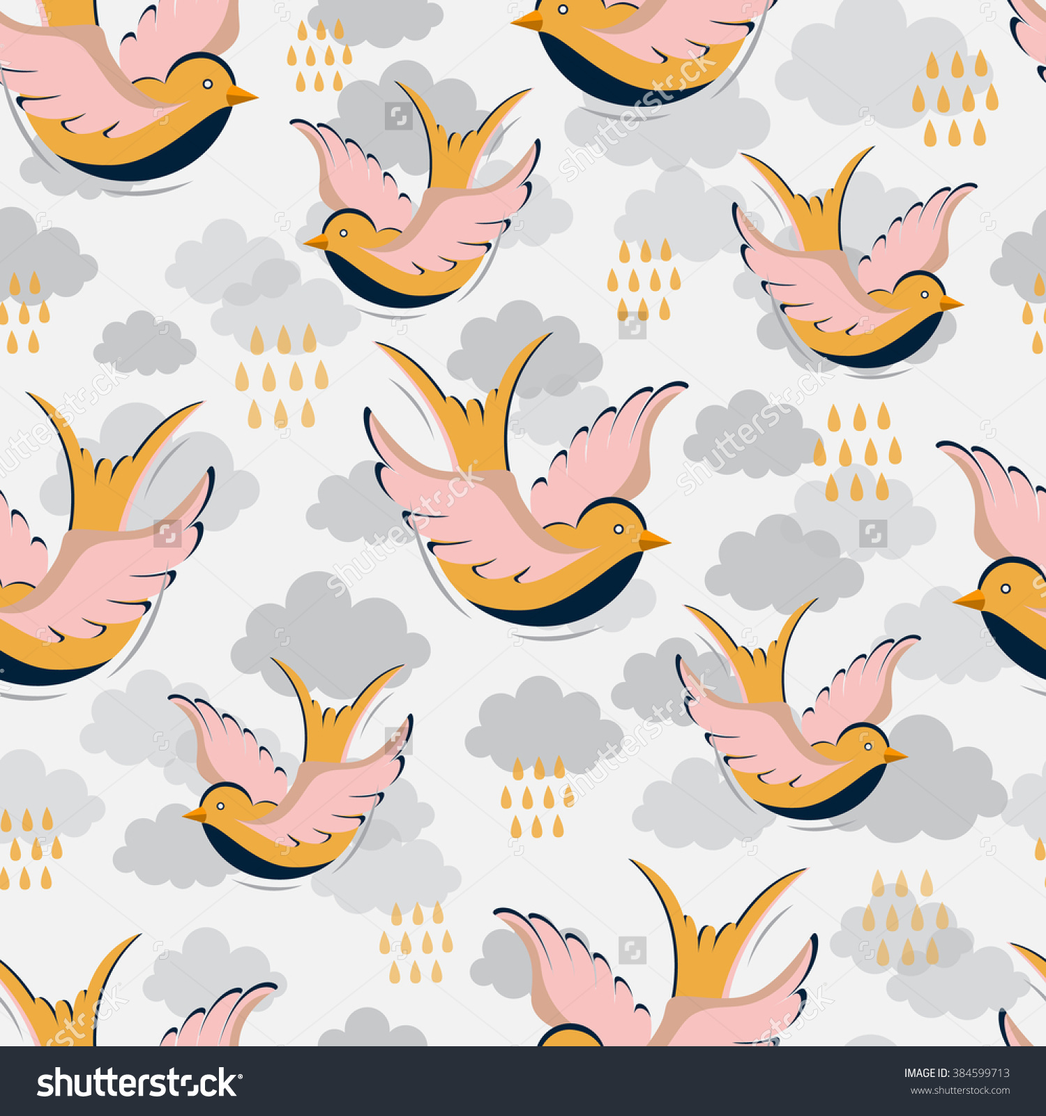 Vector Seamless Pattern With Swallow, Clouds And Rain Drops.