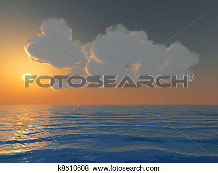 Stock Illustration of Brightly yellow sunset and cumulus clouds.