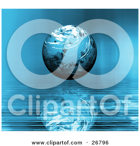 Clipart Illustration of a Blue Planet With Swirling White Clouds.