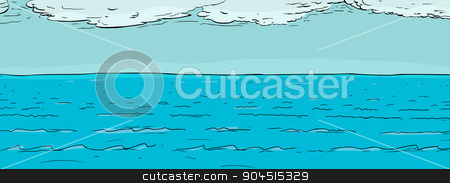 Ocean Surface with Clouds stock vector.