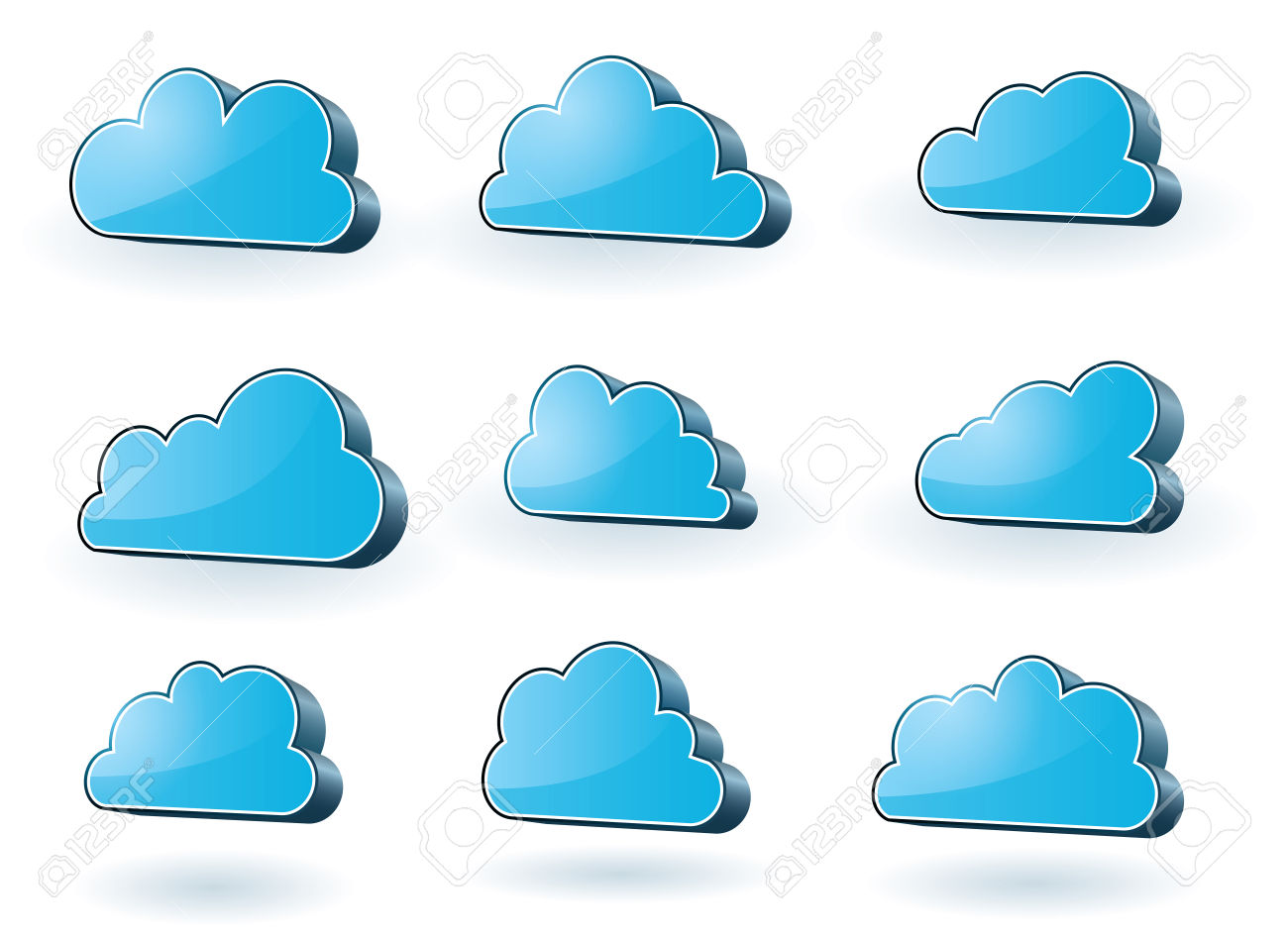 Collection Of Nine 3d Glassy Surface Clouds Royalty Free Cliparts.