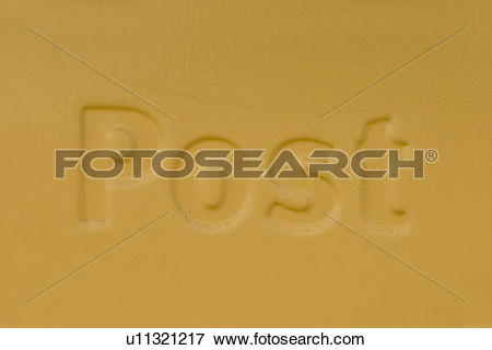 Picture of name, inscription, embossed, close.