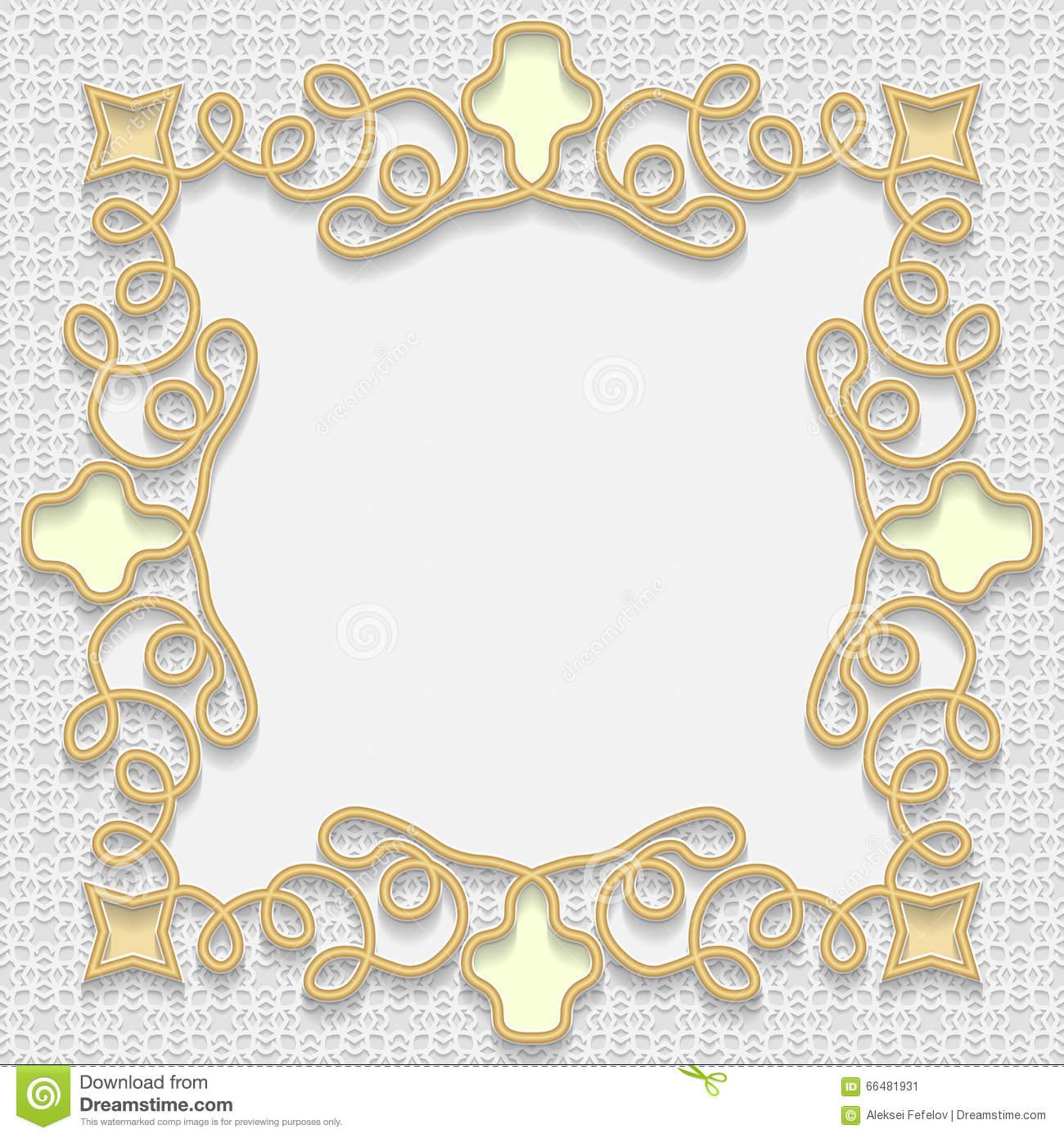 Vector 3D Frame, Festive Pattern Embossing, Gold Insert Stock.