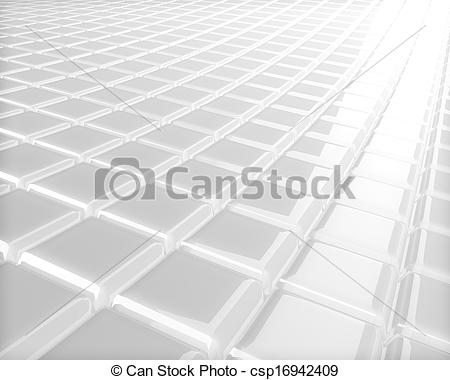 Stock Illustration of Abstract 3D embossed white checkered surface.