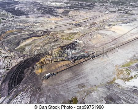 Pictures of Surface coal mining in Poland. Destroyed land. View.