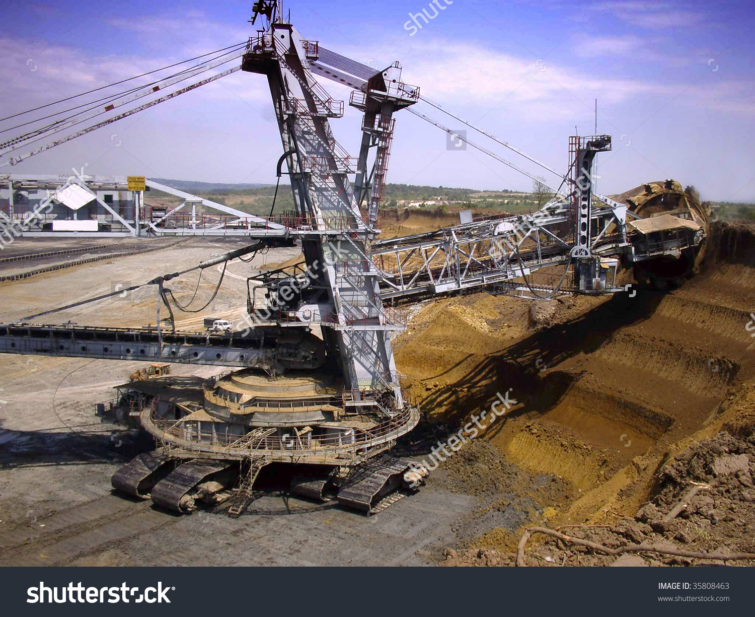 Excavator On The Surface Quarry Stock Photo 35808463 : Shutterstock.