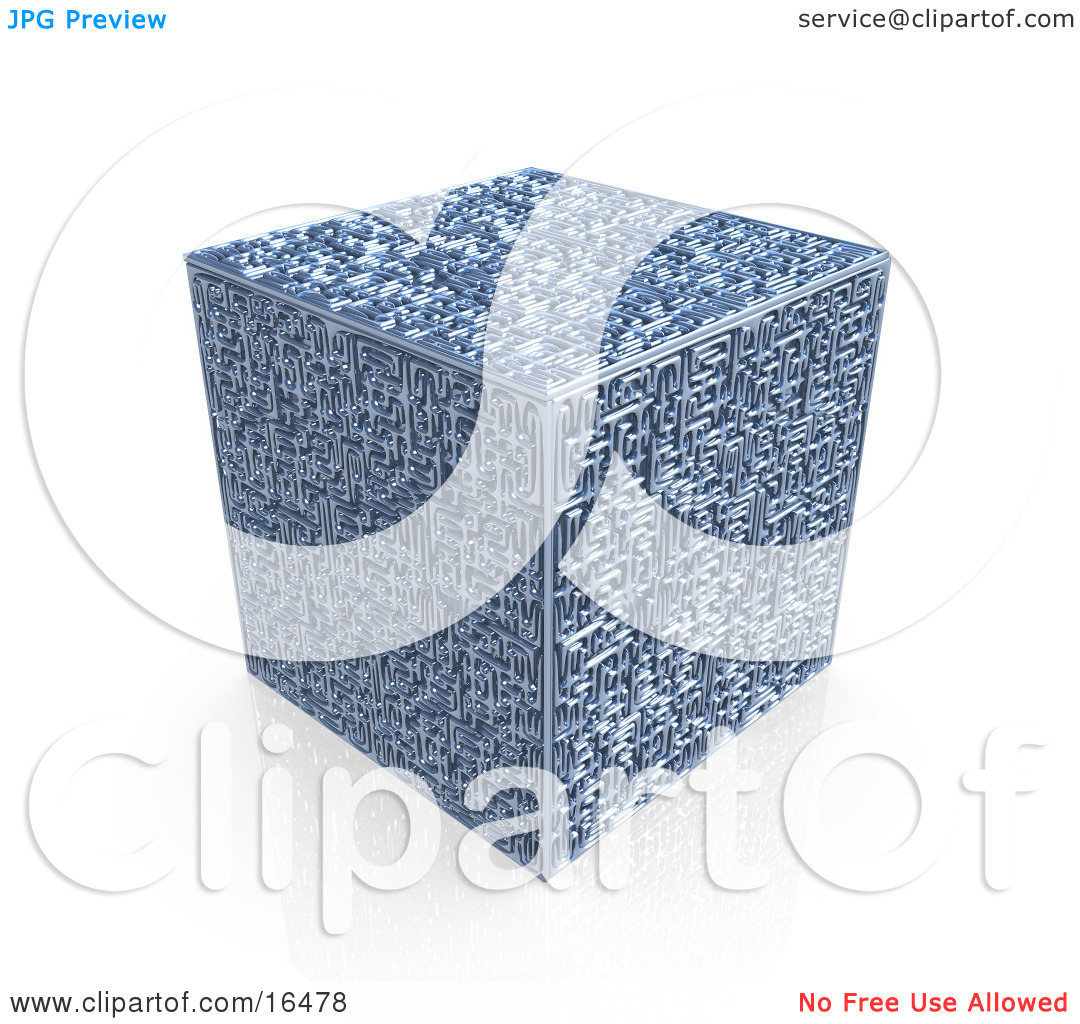 Interesting Cube With A Complex Maze On All Surfaces Clipart.