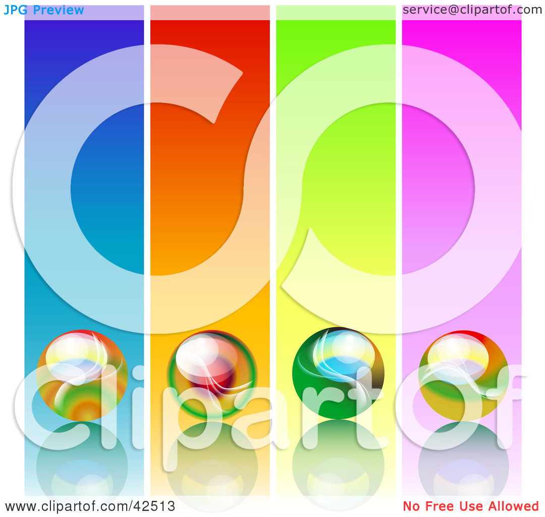 Clipart Illustration of Four Colorful Panels With Marbles On.