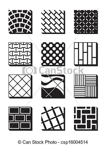 Vector Clip Art of Various external building surfaces.