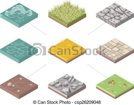 Clip Art Vector of Ground Surfaces.