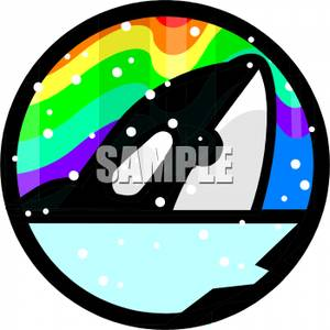 An_Orca_Surfacing_On_A_Background_Of_The_Northern_Lights_Royalty_Free_Clipart_Picture_100429.