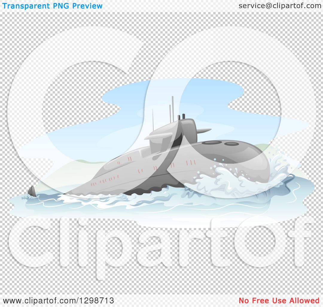 Clipart of a Surfacing Submarine.