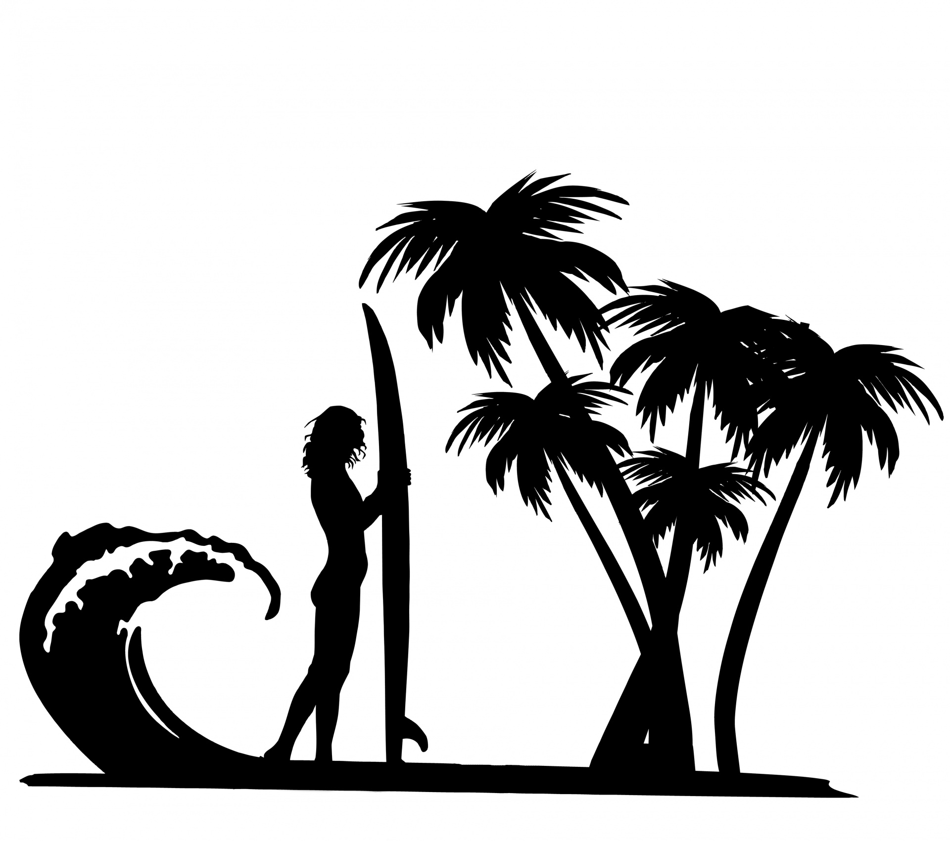 Surfer,surf,board,palm tree,trees.
