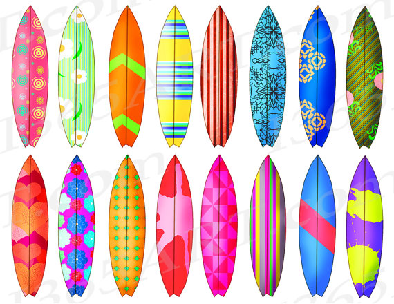 Surfboard Clipart, Surfboard Clip art, Surfs Up, Surfing.