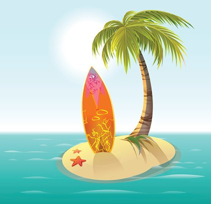 Surfboard, sand island and palm. Summer rest Clipart Image.