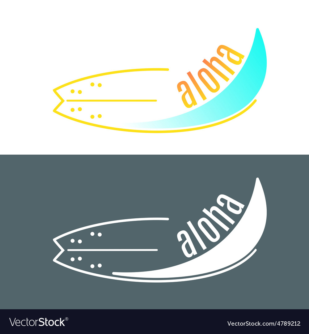 Surfboard logo with wave or surfing shop.