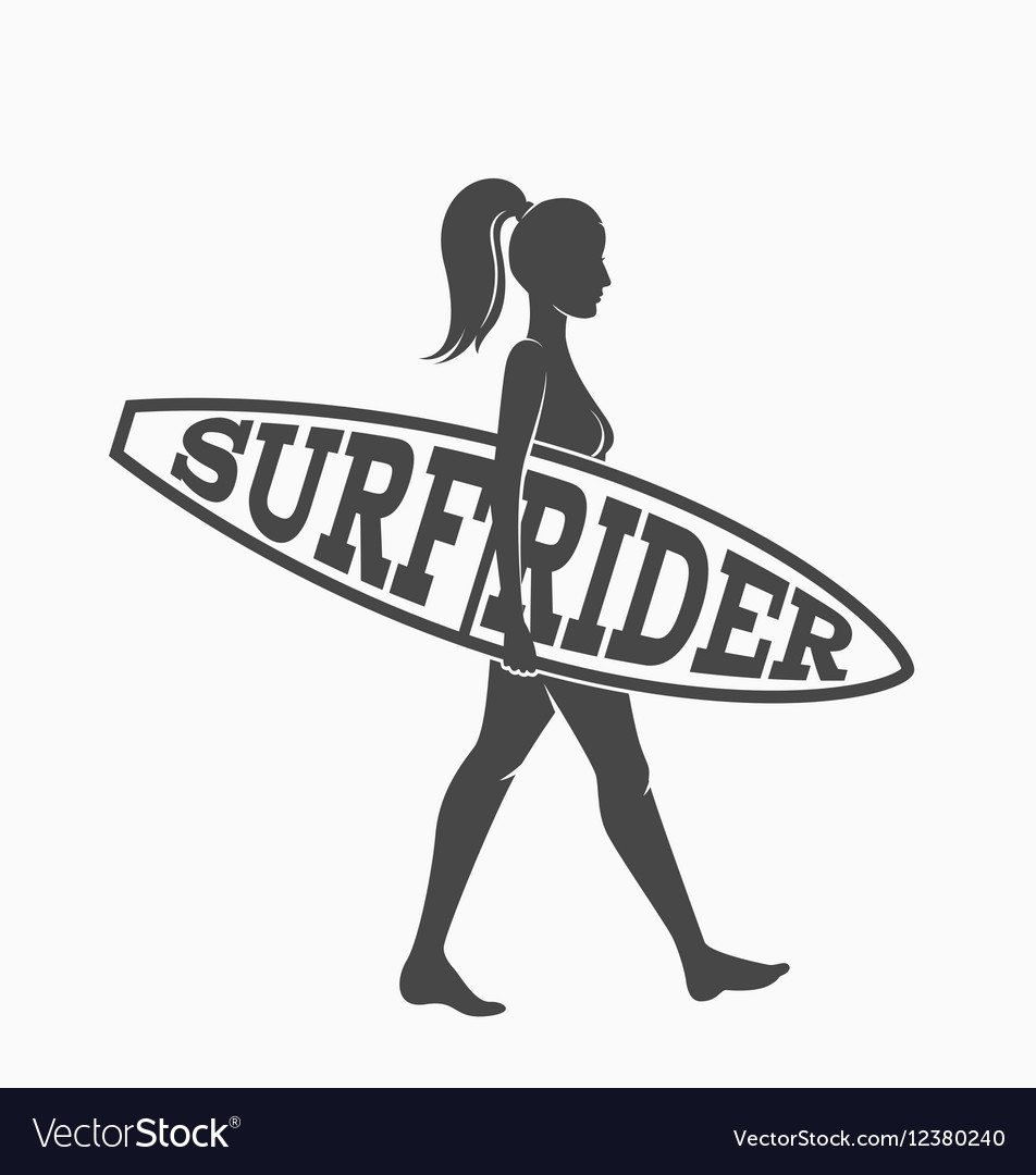 Woman goes surfing with surfboard Surf rider logo.