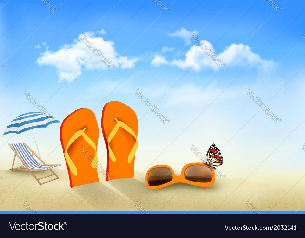 Flip flops sunglasses beach chair and a butterfly.