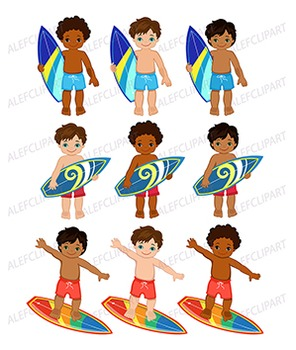 African American Surfer Boys Clipart.