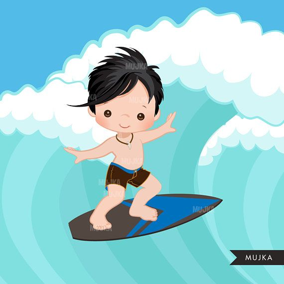 Surfer Boys clipart, surfing characters, african american.