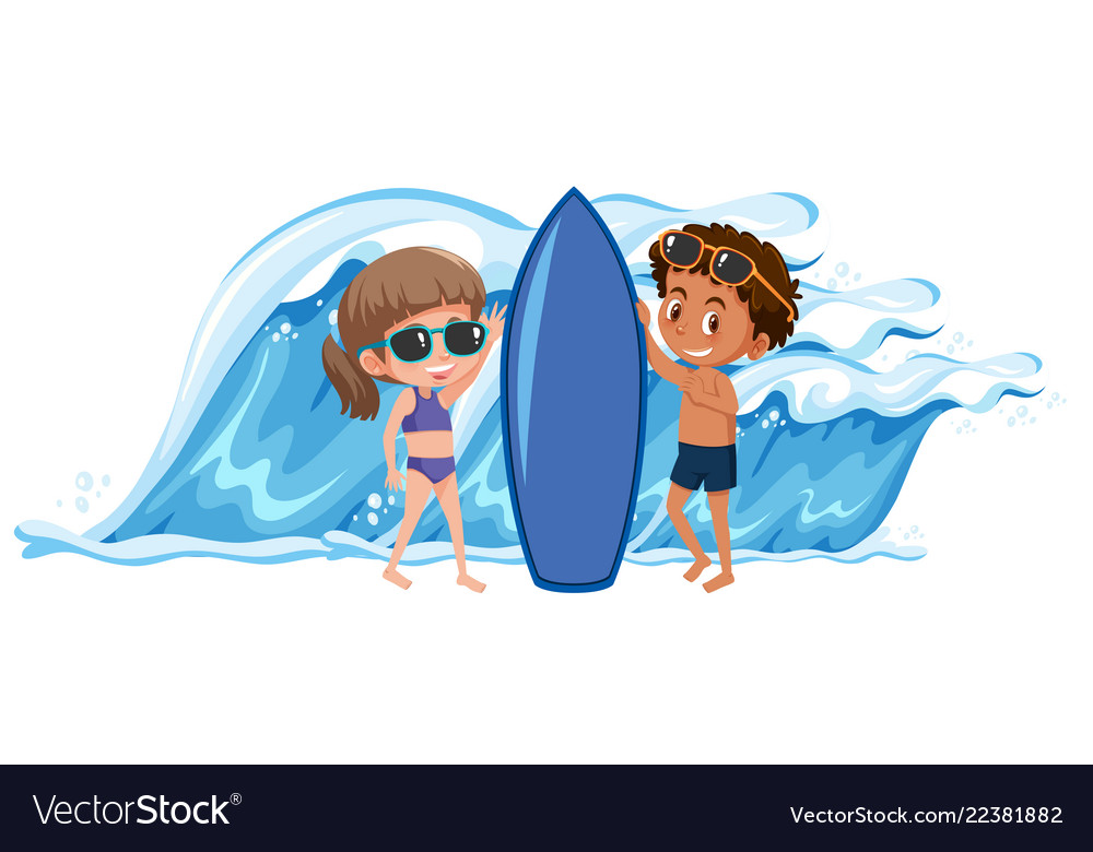 Boy and girl holding the surfboard vector image.