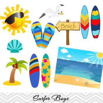 Digital Surfer Boy Clip Art, Summer Beach Boy Clip Art, Boy Surf Clip Art.