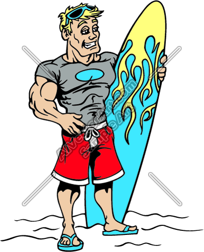 Surfer Dude with Flames Surfboard Clipart and Vectorart.