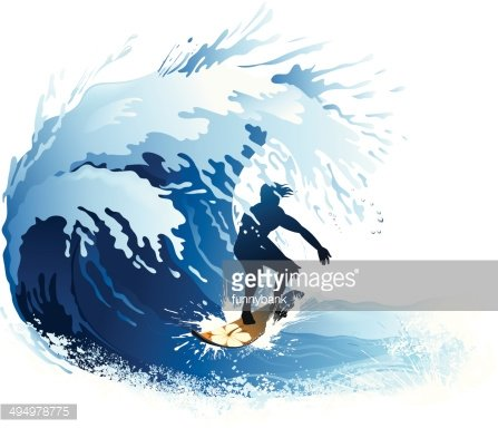 surfing wave Clipart Image.