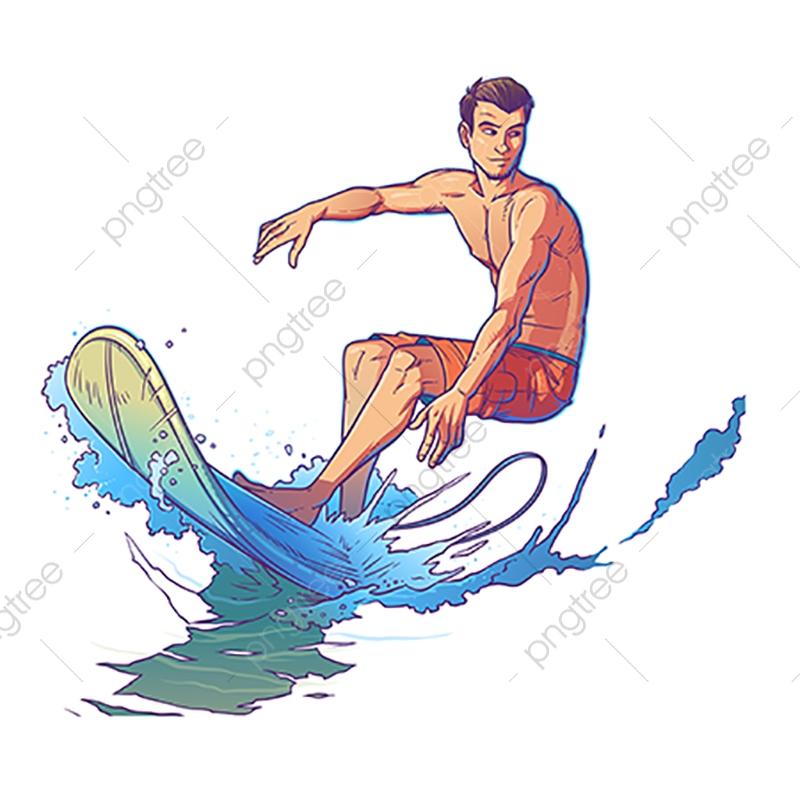 Vector Illustration Of A Surfer, Surfer, Surfing, Wave PNG.