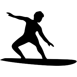 Surfer Silhouette FREE SVG.