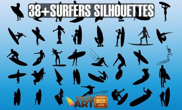 Vector Surfers Silhouettes Free vector in Adobe Illustrator.