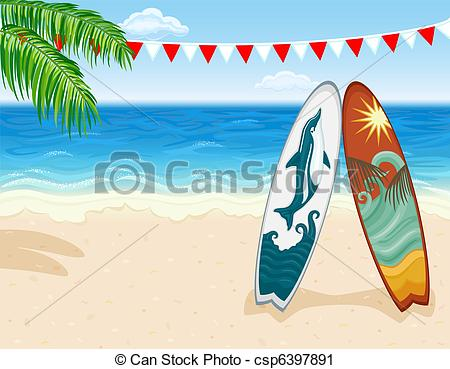 Vector Clip Art of Surf at tropical beach.